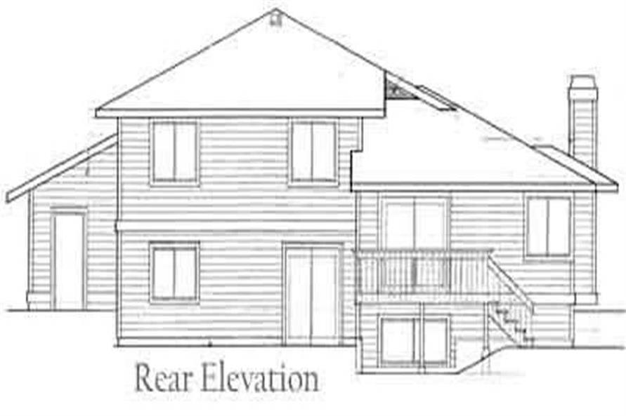 Home Plan Rear Elevation of this 3-Bedroom,1264 Sq Ft Plan -119-1083