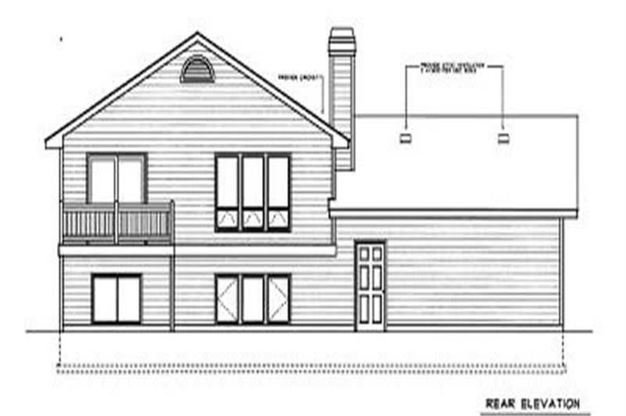Home Plan Rear Elevation of this 2-Bedroom,1126 Sq Ft Plan -119-1085