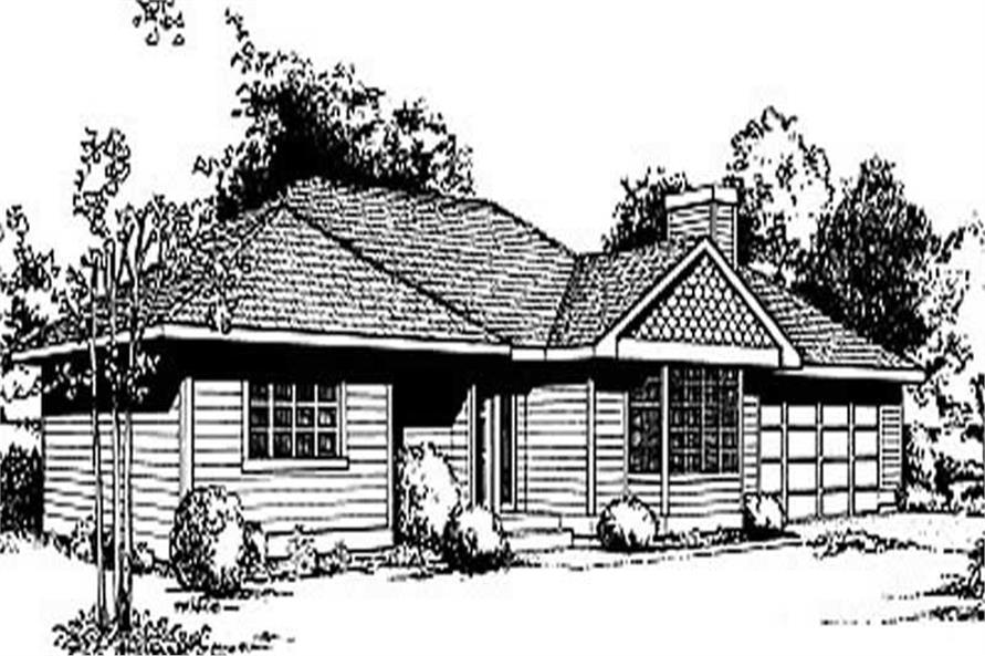 3-Bedroom, 1037 Sq Ft Ranch House Plan - 119-1086 - Front Exterior
