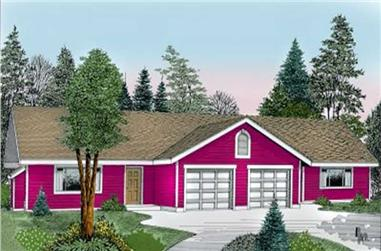 2-Bedroom, 1034 Sq Ft Multi-Unit House Plan - 119-1087 - Front Exterior