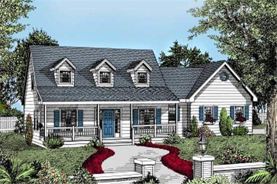 3-Bedroom, 1992 Sq Ft Country House Plan - 119-1091 - Front Exterior