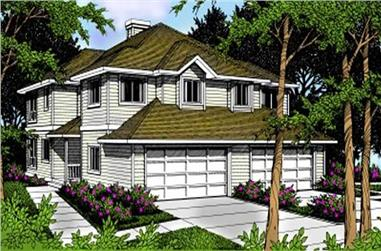 3-Bedroom, 1394 Sq Ft Multi-Unit House Plan - 119-1093 - Front Exterior