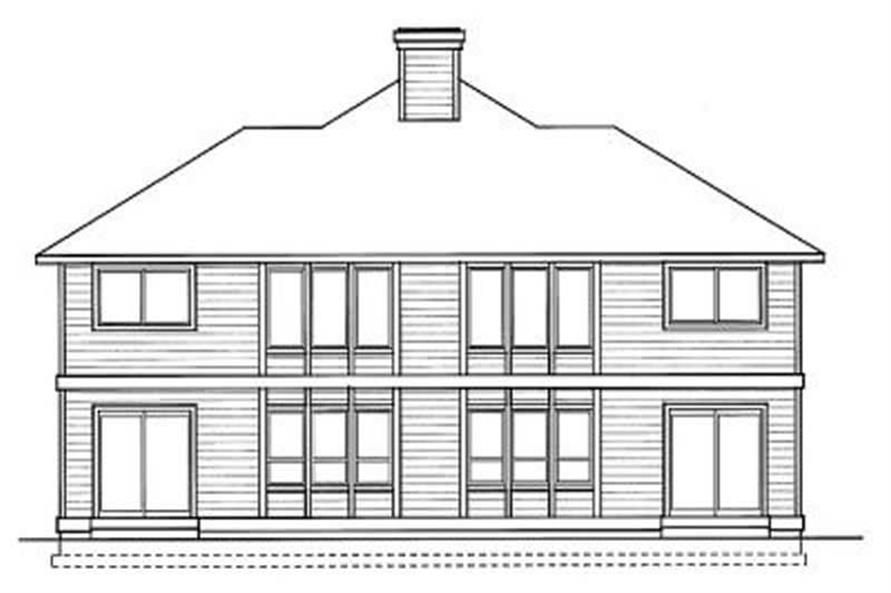 Home Plan Rear Elevation of this 3-Bedroom,1394 Sq Ft Plan -119-1093