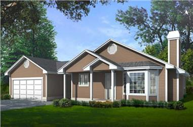 3-Bedroom, 1304 Sq Ft Ranch House Plan - 119-1094 - Front Exterior