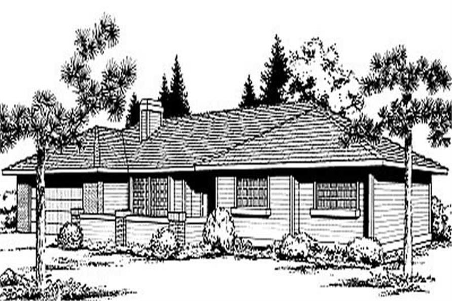 3-Bedroom, 1293 Sq Ft Ranch House Plan - 119-1097 - Front Exterior