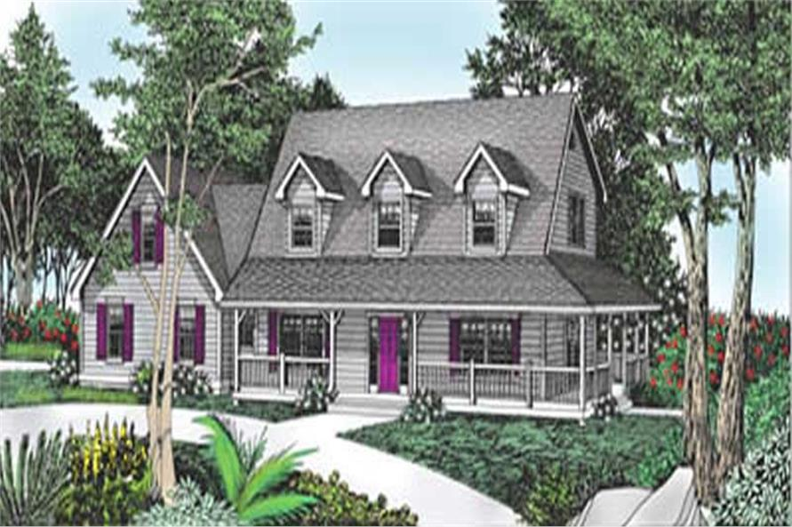 4-Bedroom, 2487 Sq Ft Country House Plan - 119-1100 - Front Exterior