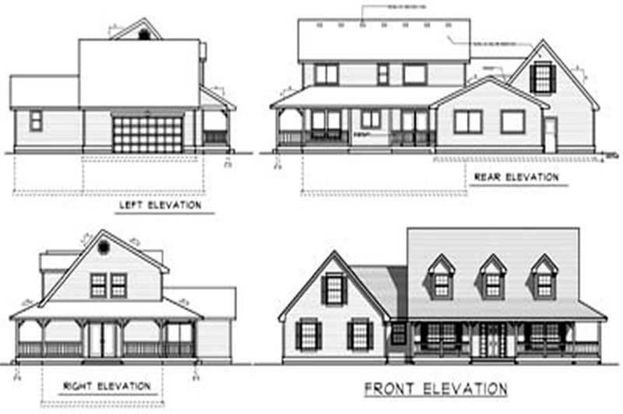 Home Plan Rear Elevation of this 4-Bedroom,2487 Sq Ft Plan -119-1100