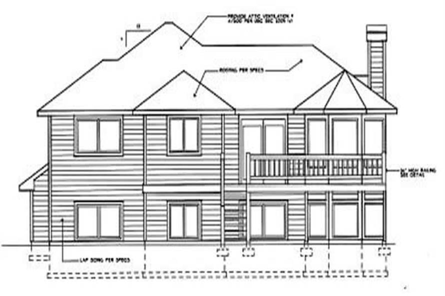 Home Plan Rear Elevation of this 5-Bedroom,1364 Sq Ft Plan -119-1101
