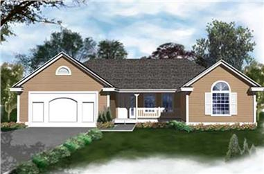 2-Bedroom, 1436 Sq Ft Ranch House Plan - 119-1103 - Front Exterior