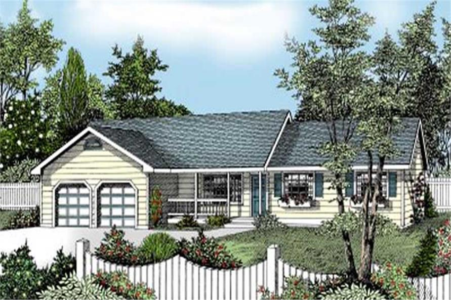 3-Bedroom, 1487 Sq Ft Ranch House Plan - 119-1105 - Front Exterior