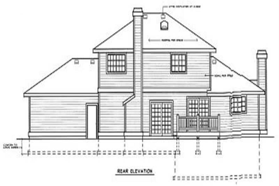 Home Plan Rear Elevation of this 3-Bedroom,1922 Sq Ft Plan -119-1107
