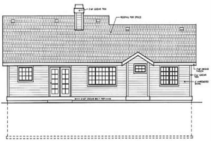 Home Plan Rear Elevation of this 3-Bedroom,1428 Sq Ft Plan -119-1116
