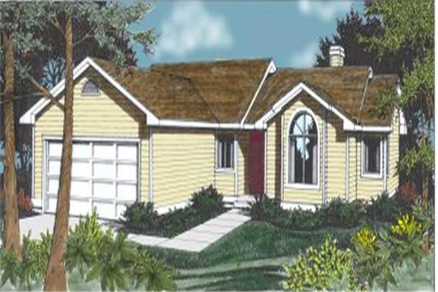 Main Elevation of this 3-Bedroom,1381 Sq Ft Plan -1381