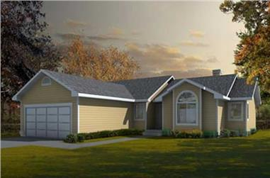 3-Bedroom, 1381 Sq Ft Ranch House Plan - 119-1119 - Front Exterior