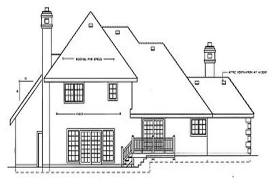 Home Plan Rear Elevation of this 4-Bedroom,2041 Sq Ft Plan -119-1120