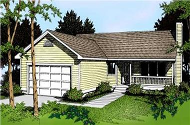 3-Bedroom, 1256 Sq Ft Ranch House Plan - 119-1123 - Front Exterior