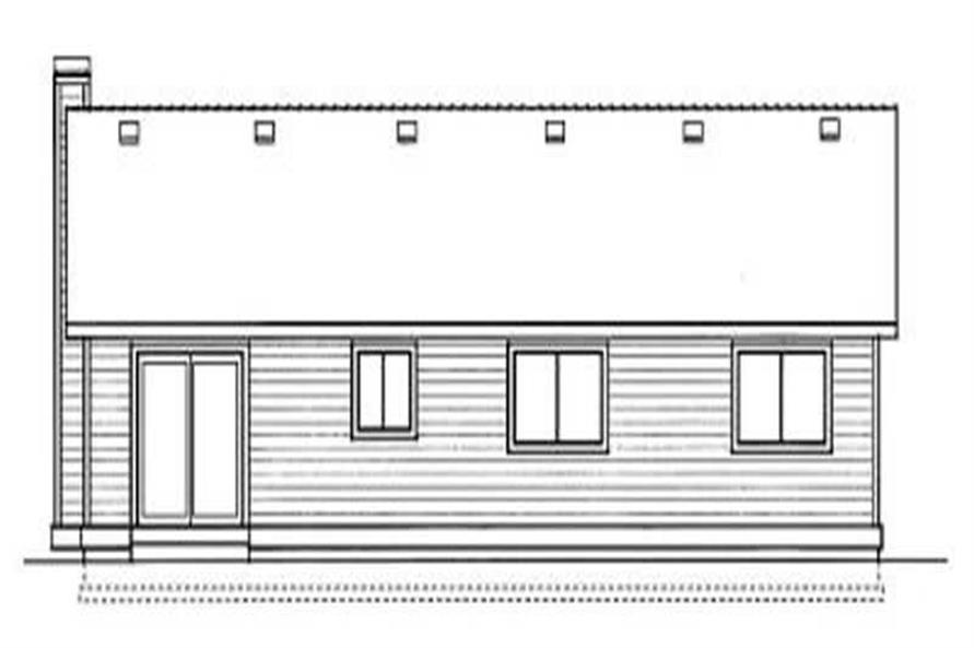 Home Plan Rear Elevation of this 3-Bedroom,1256 Sq Ft Plan -119-1123