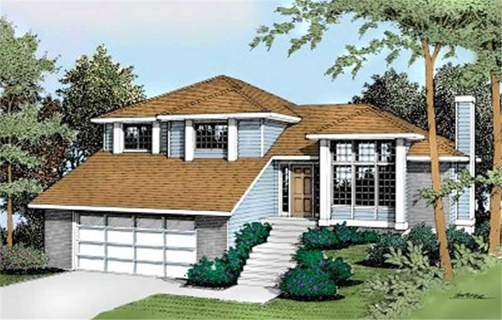 Front elevation of Contemporary home (ThePlanCollection: House Plan #119-1130)