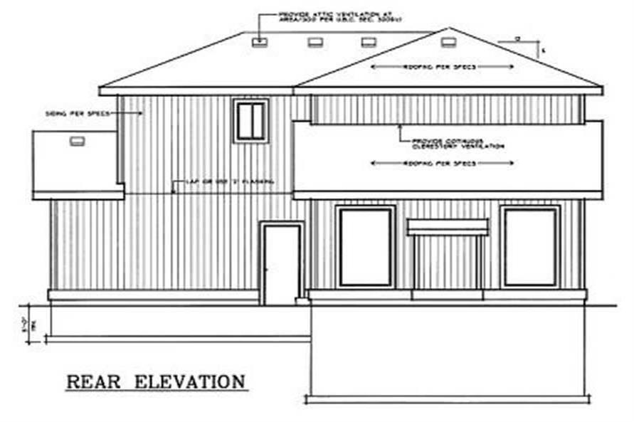 Home Plan Rear Elevation of this 3-Bedroom,1401 Sq Ft Plan -119-1131