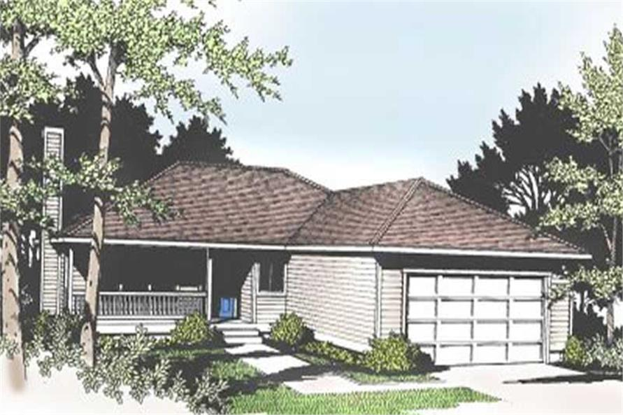 3-Bedroom, 1522 Sq Ft Ranch House Plan - 119-1135 - Front Exterior