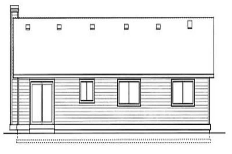 Home Plan Rear Elevation of this 3-Bedroom,1410 Sq Ft Plan -119-1138