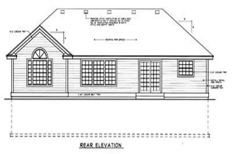 Home Plan Rear Elevation of this 2-Bedroom,1288 Sq Ft Plan -119-1139