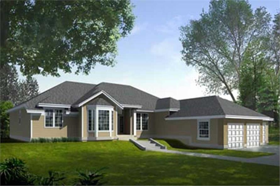 3-Bedroom, 2327 Sq Ft Contemporary House Plan - 119-1141 - Front Exterior