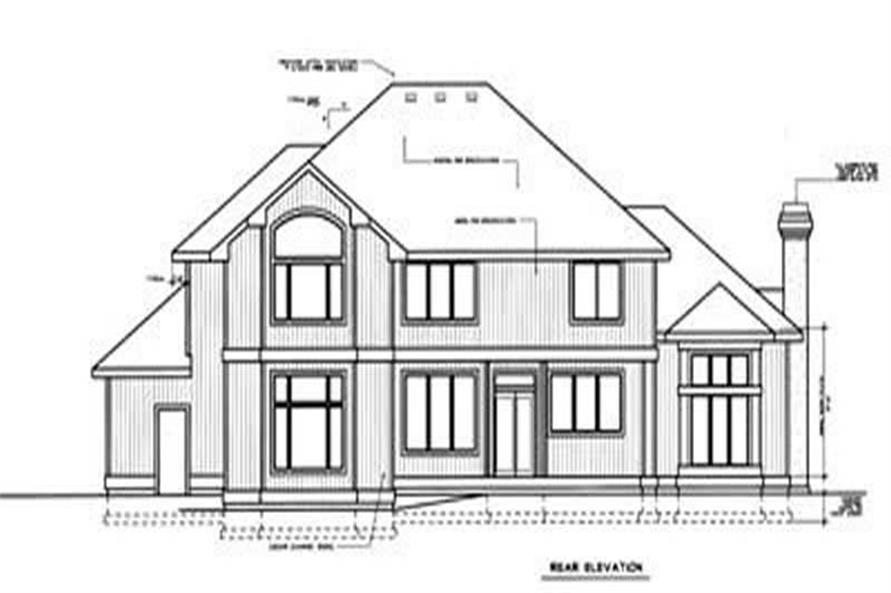 Home Plan Rear Elevation of this 4-Bedroom,3738 Sq Ft Plan -119-1144