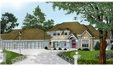 Home Plans DDI100-206 color front elevation.