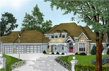 5-Bedroom, 3990 Sq Ft Country House Plan - 119-1145 - Front Exterior