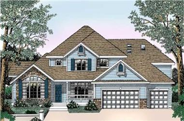 4-Bedroom, 2917 Sq Ft Country House Plan - 119-1147 - Front Exterior