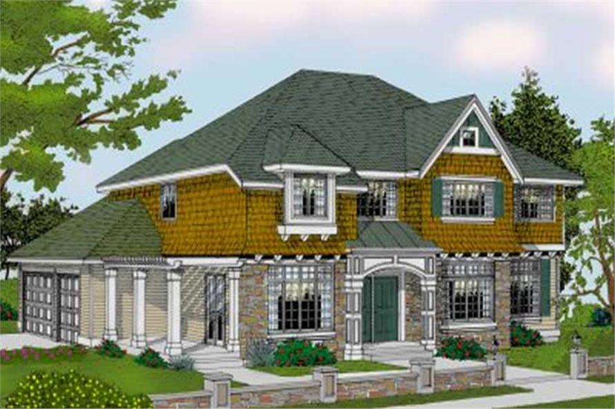 House Plans color rendering front elevation.
