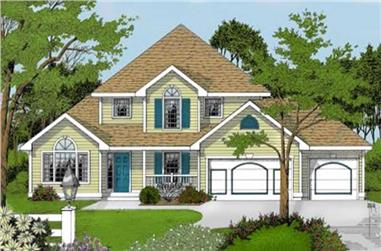 3-Bedroom, 2195 Sq Ft Country House Plan - 119-1154 - Front Exterior