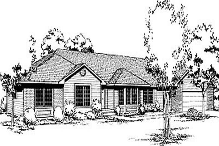 3-Bedroom, 1944 Sq Ft Ranch House Plan - 119-1158 - Front Exterior