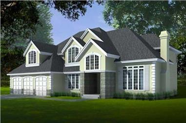 4-Bedroom, 3483 Sq Ft European House Plan - 119-1159 - Front Exterior