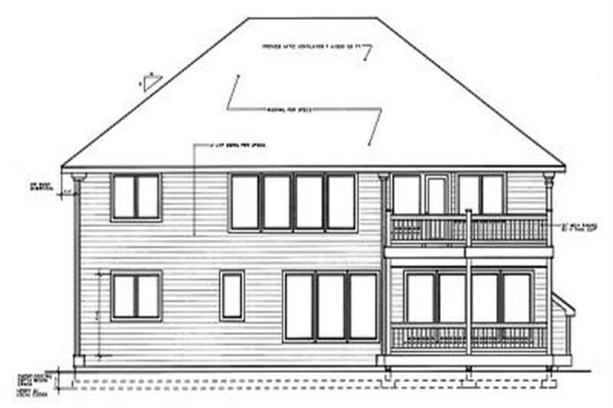 Home Plan Rear Elevation of this 4-Bedroom,3018 Sq Ft Plan -119-1161
