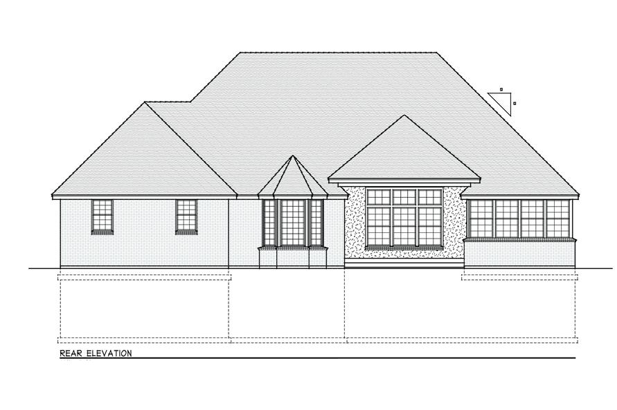 Home Plan Rear Elevation of this 3-Bedroom,2374 Sq Ft Plan -119-1167