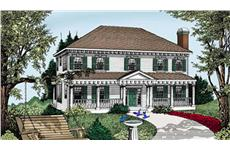 This is a very cheerful rendering of these Colonial Home Plans.