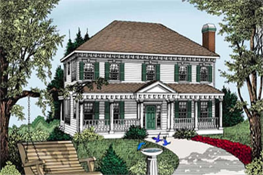 Colonial, Southern, Country House Plans - Home Design DDI101-206 # 2111