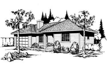 2-Bedroom, 1062 Sq Ft Ranch House Plan - 119-1180 - Front Exterior