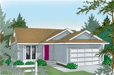 2-Bedroom, 1084 Sq Ft Ranch House Plan - 119-1184 - Front Exterior
