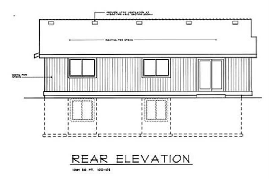 Home Plan Rear Elevation of this 2-Bedroom,1084 Sq Ft Plan -119-1184