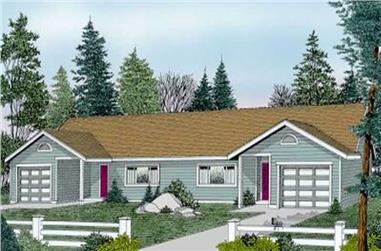 2-Bedroom, 1021 Sq Ft Multi-Unit House Plan - 119-1185 - Front Exterior