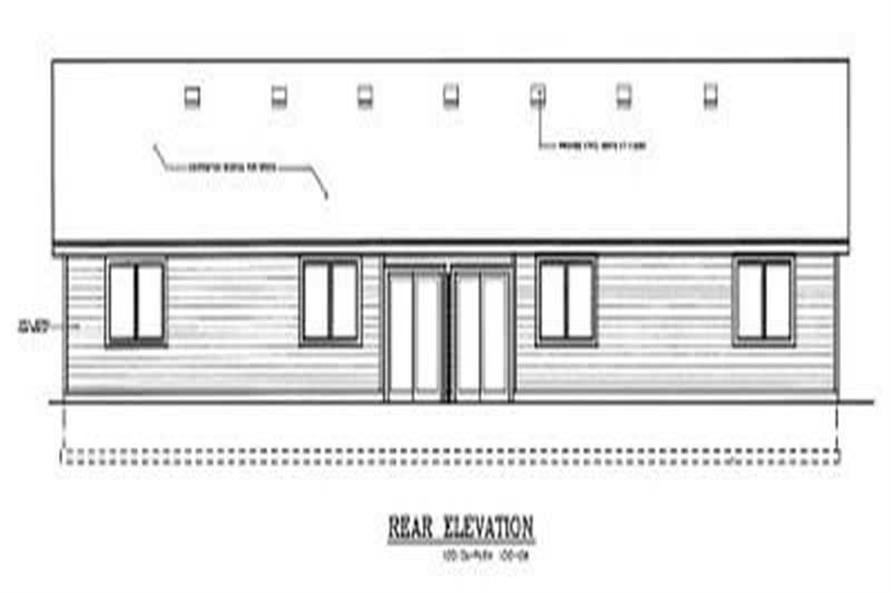 Home Plan Rear Elevation of this 2-Bedroom,1021 Sq Ft Plan -119-1185