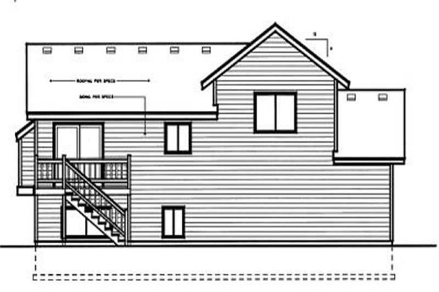 Home Plan Rear Elevation of this 3-Bedroom,983 Sq Ft Plan -119-1186