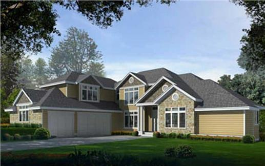 Craftsman Home Plans DDI97-211 color rendering.