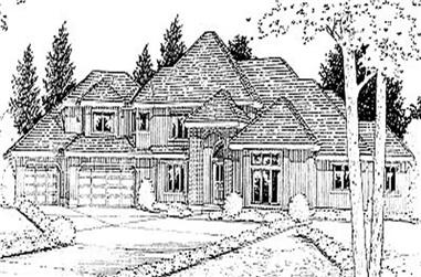 4-Bedroom, 3982 Sq Ft European House Plan - 119-1193 - Front Exterior