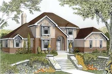 5-Bedroom, 3419 Sq Ft European House Plan - 119-1195 - Front Exterior
