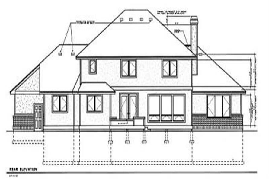 Home Plan Rear Elevation of this 5-Bedroom,3419 Sq Ft Plan -119-1195
