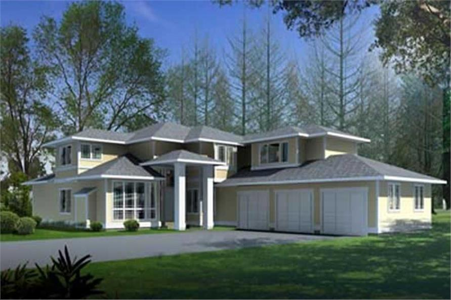 4-Bedroom, 3408 Sq Ft European House Plan - 119-1201 - Front Exterior